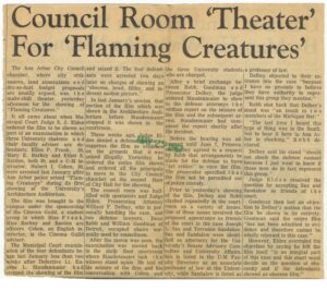 Mary Barkey was co-chair of the Cinema Guild for the 1966-67 season. She was arrested after the showing of 'Flaming Creatures.'