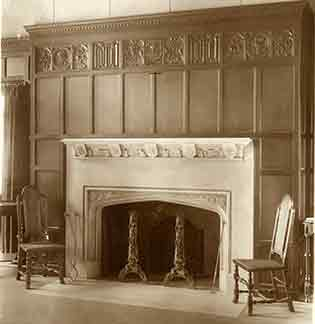 Fireplace in Martha Cook, courtesy of Bentley Historical Library.