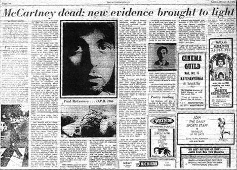 Paul is dead article from the Michigan Daily.
