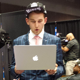 Stauskas with computer.