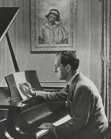 Gershwin at the piano, courtesy of the Library of Congress