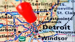 Detroit map, stock