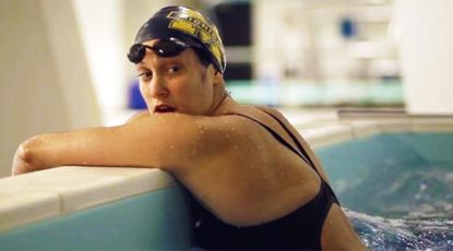 Female swimmer featured in NCAA videos by U-M.