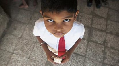 Indian boy with soap
