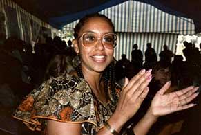 Robinson, wearing her bracelet, during a trip to Kenya in 1985.