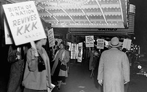 Protesters at Birth of a Nation screening.