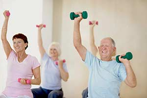 Elderly work out, stock