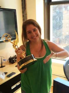 Haley Geffen with an Emmy.