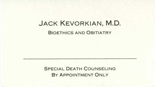 Kevorkian business card, Bentley