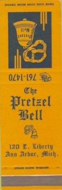 A vintage Pretzel Bell matchbook.
