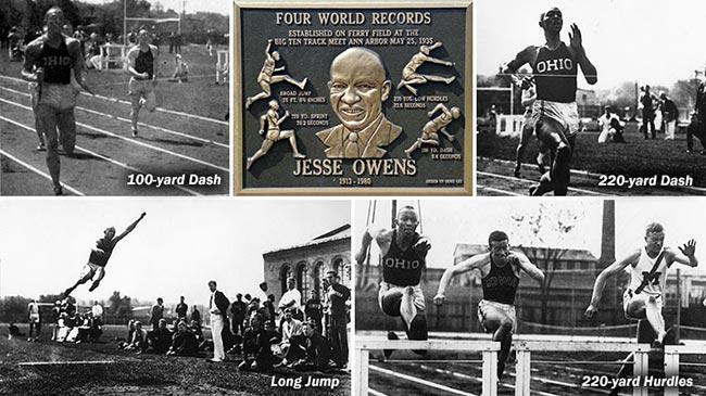 Montage of Jesse Owens at U-M.