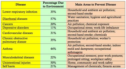 Chart, Environmental Health Risks
