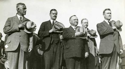 [L-R: UM Ath. Director Fielding Yost, UM President C.C. Little, Michigan Governor Fred Green, OSU Ath. Dir. L.W. St. John, Ohio Governor Vic Donahey]