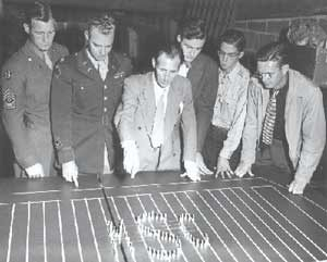 Nicholas Falcone plans a formation for the MSC band. (Image courtesy of Michigan State University Archives and Historical Collection.)
