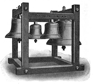 Meneely's peal of five bells, ranging from 210 to 3,071 pounds.