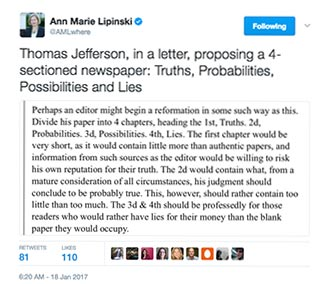 Harvard's Anne Marie Lipinski, BA '94, captured the sentiments of a real journalist back in January with this tweet.
