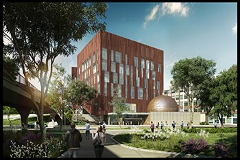Architect's Rendering of the Biological Science Building and the U-M Museum of Natural History entrance. ((c) 2015 University of Michigan. Design Team SmithGroupJJR/Ennead Architects.)