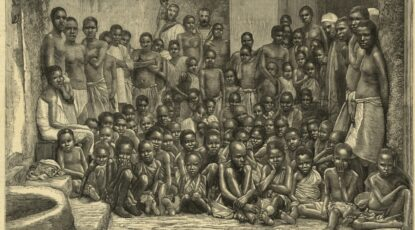 The British navy intercepted slave ships throughout the 19th century. In 1884, the H.M.S. 'Undine' liberated this group of captives taken from an Arab dhow. The British navy intercepted slave ships throughout the late 19th century in Northeast Africa.