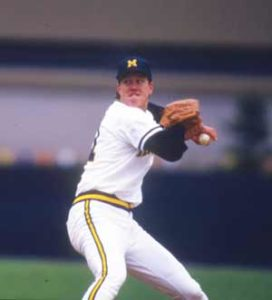 Jim Abbott pitches for Michigan, 1987