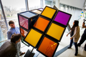 College of Engineering students demonstrate the giant Rubik's Cube on North Campus April 13.