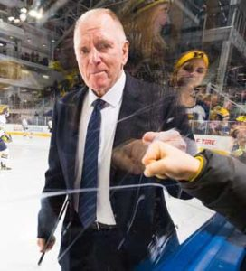 U-M hockey coach Red Berenson announced his retirement in April 2017 after 33 years. (Image: mgoblue.com.)