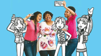 Erin Russell, Rachel Reneé Russell, and Nikki Russell pose with their 'Dork Diaries' characters. (Image courtesy of the Russells.)