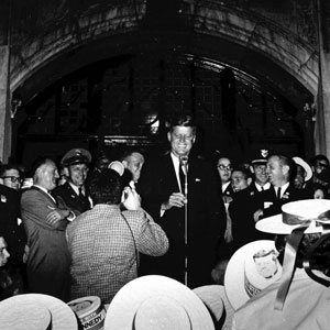 Kennedy on the steps of the Michigan Union, 1960.