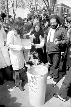 A group called Advocates for Medical Information burned Willson's textbook on the Diag. (Image: U-M Library.)