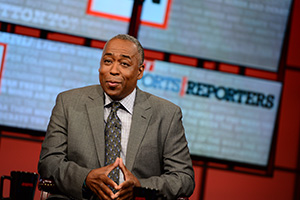 Saunders on the set of 'The Sports Reporters'