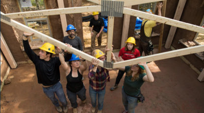 Students build straw bale house