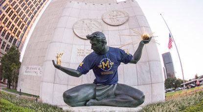 Spirit of Detroit wearing Bicentennial Tshirt