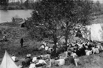 Filibert Roth teaches outdoors.
