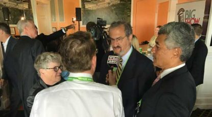 President Schlissel with reporters