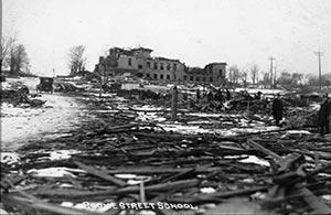 Demolished school building