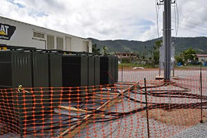 Large transformers, along with 1,850-kilowatt generators form the microgrid system in Puerto Rico