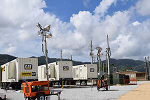 The microgrid temporary power system supplies critical power in Maunabo, Puerto Rico.