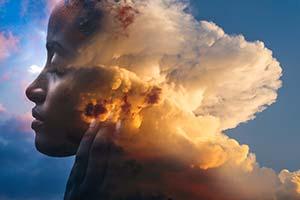Girl with cloud head.