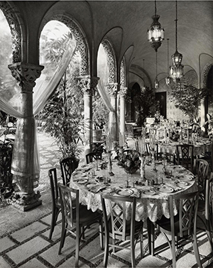 A table set for dinner at Mar-A-Lago via Bentley Library.