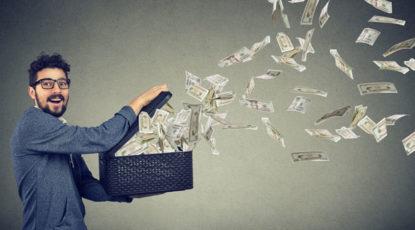 Stock image of flying money