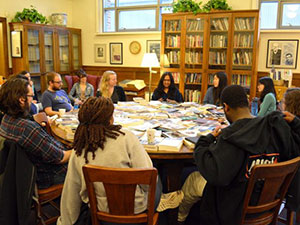 MFA students engage in a Q&A in the Hopwood Room.