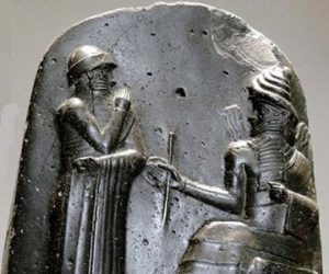 King Hammurabi receives the Code of Laws from Shamash
