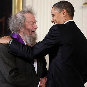 Donald Hall with Barack Obama. (Image: Associated Press.)