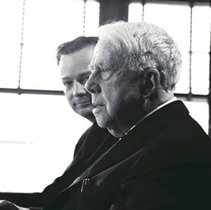 Donald Hall with poet Robert Frost, 1962. (Image: Bentley Historical Library.)