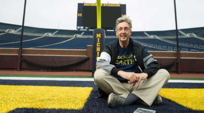 U-M geologist Ben van der Pluijm in Michigan Stadium