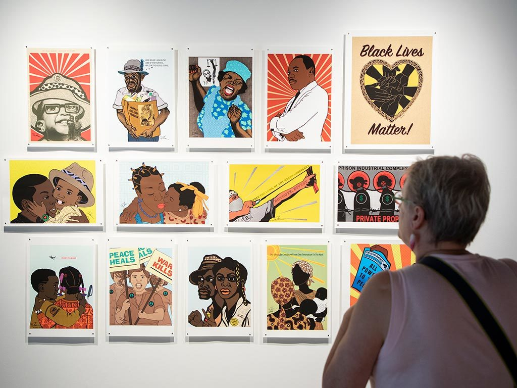"In 1967, Emory Douglas became the ""Revolutionary Artist"" and Minister of Culture for the Black Panther Party. The exhibition features prints that originally appeared in the organization's newsletter, as well as more recent prints that resonate with such contemporary movements as Black Lives Matter."
