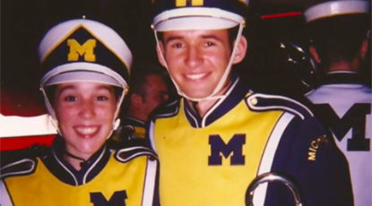 Kellie (BM '02) and Joe McInchak (BM '02) met in the Michigan Marching Band in 1998.