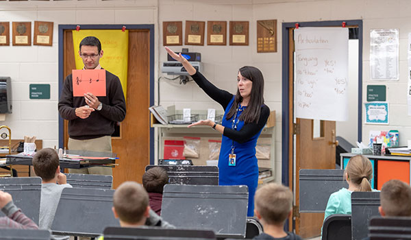 Kellie, BM '02, and Joe McInchak, BM '02, co-teach 5th grade at Tecumseh Public Schools.