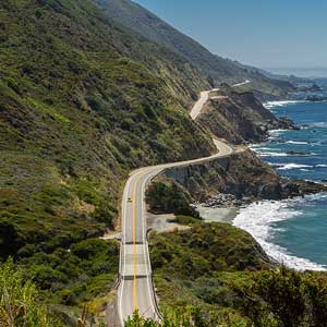 A deserted Highway 1 along the coast of California near Big Sur.