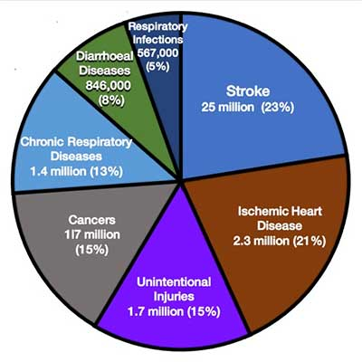 Pie chart: top seven causes of environmental pollution