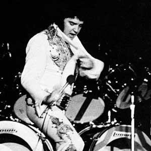 Elvis at Crisler on a motorcycle